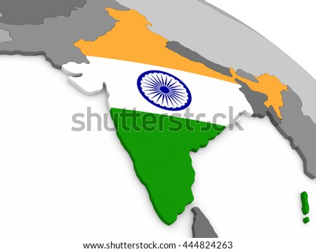 Map of India with embedded national flag. 3D illustration
