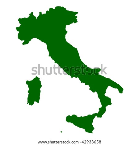 Map of Italy isolated on white background.