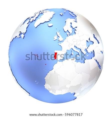 Map Norway On Metallic Globe D Stock Illustration - Portugal globe map