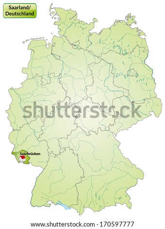 Map of Saarland with main cities in green