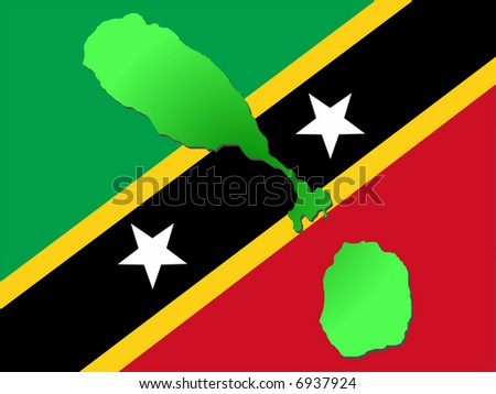 map of St Kitts and their flag illustration JPG