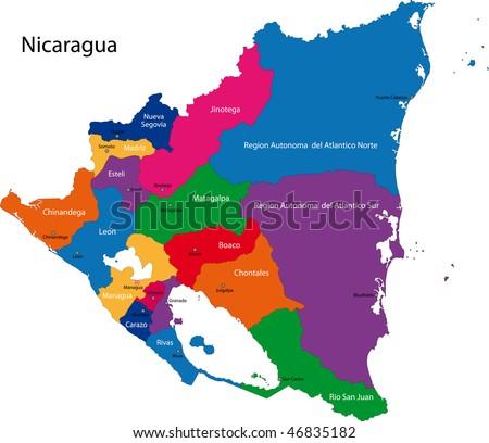 Map Republic Guatemala Departments Colored Bright Stock Vector - Departments map of guatemala