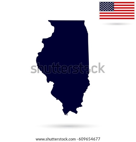 Map Of The U S State Illinois On A White Background American Flag