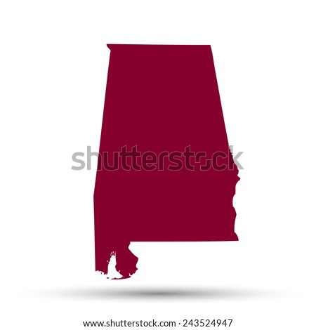 Map Us State Alabama On White Stock Vector Shutterstock - Us map all white red background