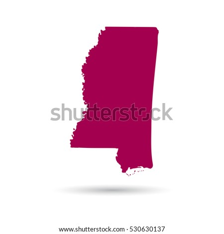 Map Us State Mississippi On White Stock Vector - Us map all white red background