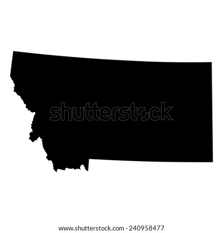 Montana State Map Black On White Stock Vector Shutterstock - Map of us black