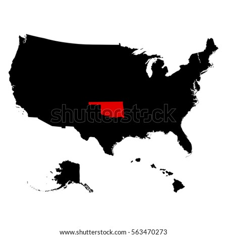 Oklahoma State United States Map Stock Vector Shutterstock - Oklahoma in us map