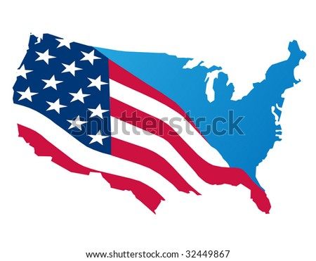 Design American Flag Map Stock Vector Shutterstock - Us flag on the map