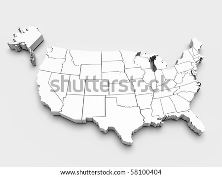 Map of USA. 3D render