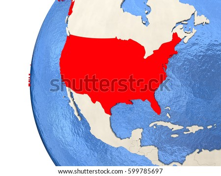 Usa On Metallic Globe Watery Blue Stock Illustration - Globe of usa
