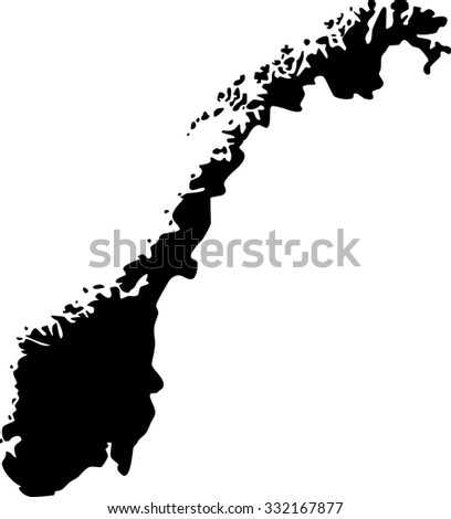 Outline Map Norway Isolated Vector Illustration Stock Vector - Norway map outline