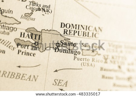 Map view of Santiago Domingo, Dominican Republic on a geographic