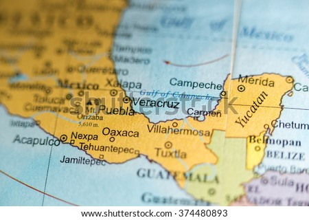 Map View Puebla Mexico On Geographical Stock Photo 374480902