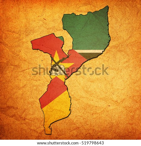map with flag of mozambique with national borders