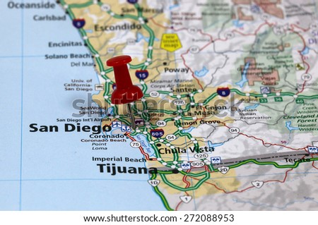Map With Pin Point Of San Diego In California Usa
