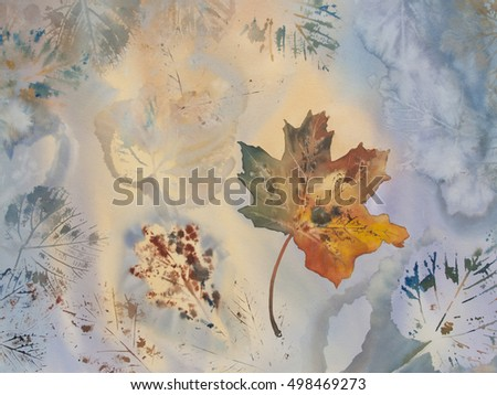Maple leaf autumn watercolor background
