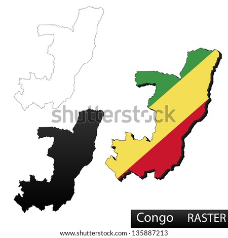 Maps of Republic of the Congo, 3 dimensional with flag clipped inside borders,and shadow, and black and white contours of country shape, raster copy