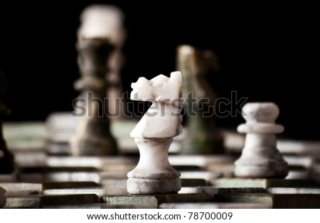 Marble chessboard in a dark room