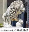 Marble lion sculpture in Vorontsov Palace in Alupka, Crimea, Russia. - stock photo