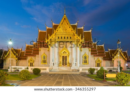 Marble temple the most famous travel landmark of Bangkok Thailand