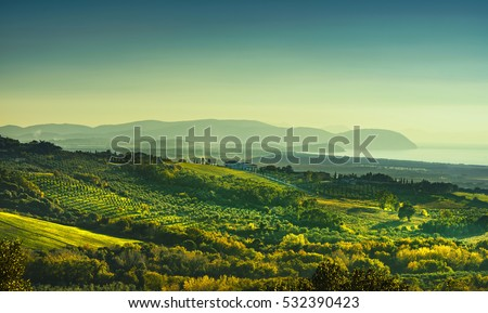 Maremma sunset panorama. Countryside, sea and Elba island on horizon. San Vincenzo, Tuscany, Italy.
