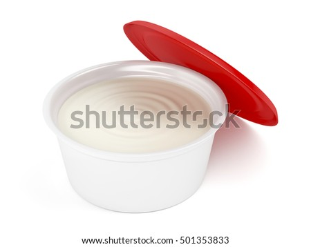 Margarine, butter or cream cheese in open plastic packaging, 3D illustration