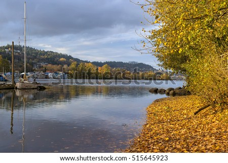 Marina along Willamette River at Sellwood Riverfront Park in Portland Oregon in fall season