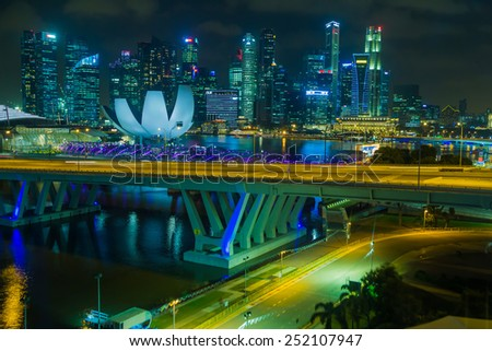 Marina Bay Sands view from Singapore Flyer at night in Singapore, February 8, 2015