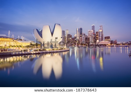 Marina Bay, Singapore. Night image of the Central Business District of Singapore.