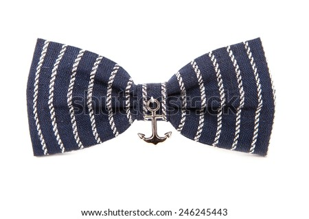 Marine Bow tie isolated on white background. Accessory sea anchor