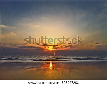Marine landscape during sunset with ocean and cloudy sky. Fluffy clouds on sunset sky. Beautiful seaside sunset digital illustration. Tropical sea sunset colorful image. Exotic island beautiful view