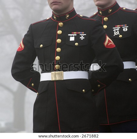 Marines in Formation on a Foggy Day in Arlington National Cemetery