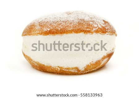 Maritozzo con la panna (roman traditional sweet bun with whipped cream) on a white background