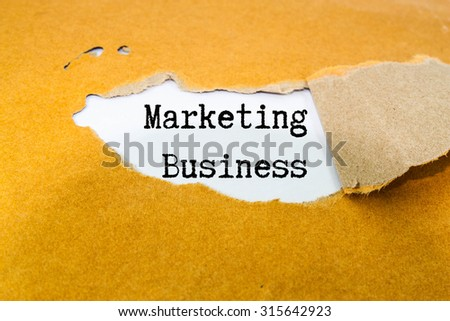 Marketing Business text on brown envelope