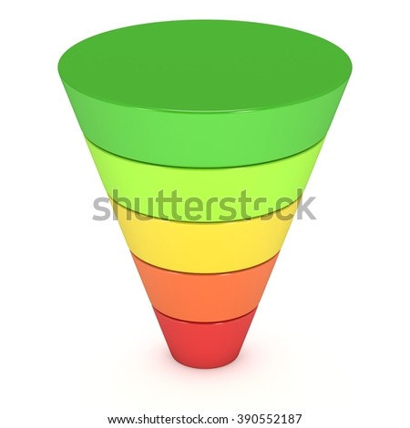 Marketing Conversion Funnel Sales Diagram. 3d render illustration isolated on white background. High Resolution Concept of Business and Finance.