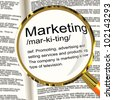 Marketing Definition Magnifier Shows Promotion Sales And Advertising - stock photo