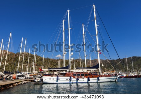 MARMARIS, TURKEY - SEPTEMBER 15, 2014: Yachts in the Marmaris port in Mugla province in Turkey. At 2013 more than 3 million tourists visited Mugla province.