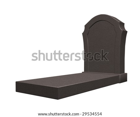 marple grave stone on white background - 3d illustration