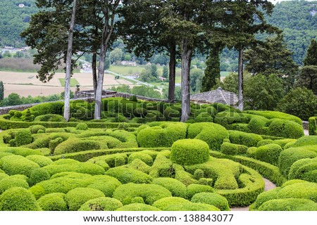 Marqueyssac gardens - nationally registered site. Suspended gardens of pruned boxwoods.