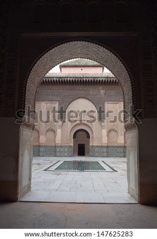 MARRAKECH - MARCH 04: The Ben Youssef Madrasa was an Islamic college in Marrakech, Morocco, named after the Almoravid sultan Ali ibn Yusuf (1106-1142 ). March, 04, 2013 in Marrakech, Morocco.