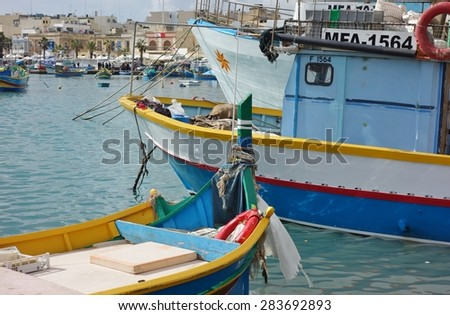 MARSAXLOKK, MALTA -26 JANUARY 2015- The harbor fishing village of Marsaxlokk is located in the Southeastern part of Malta in Europe.