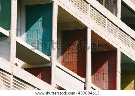 MARSEILLES, FRANCE - CIRCA JULY 2014: Facade of the Unite d'habitation, a  modernist residential housing designed by Le Corbusier in Marseilles (France).