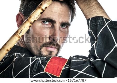... two short bamboo sticks, isolated on white background - stock photo