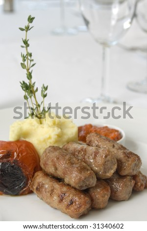 mashed potatoes and meatballs close up