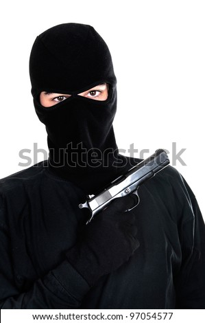 Masked man aims with gun on white background