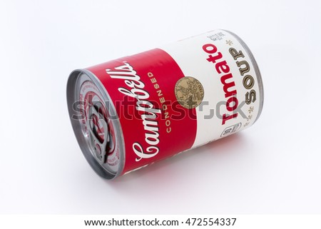 Massa, Italy - August 19, 2016: Campbell's condensed tomato soup can. The Campbell Soup Company, is an American producer of canned soups. Andy Warhol used Campbell's soup cans in pop art.