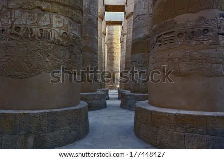 Massive columns of the Great Hypostyle Hall, in the temple of Amun, The Temple of Karnak in modern day Luxor or ancient Thebes. Widely considered the largest temple complex every built by man.