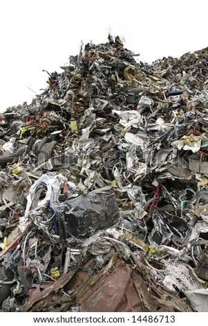 Massive pile of garbage isolated on white background - large XXL file