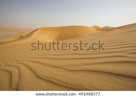 Massive sand dunes of the Empty Quarter desert, covering large area in UAE, KSA and Oman