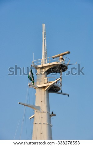 Mast with navigation, communication and safety equipment on ship